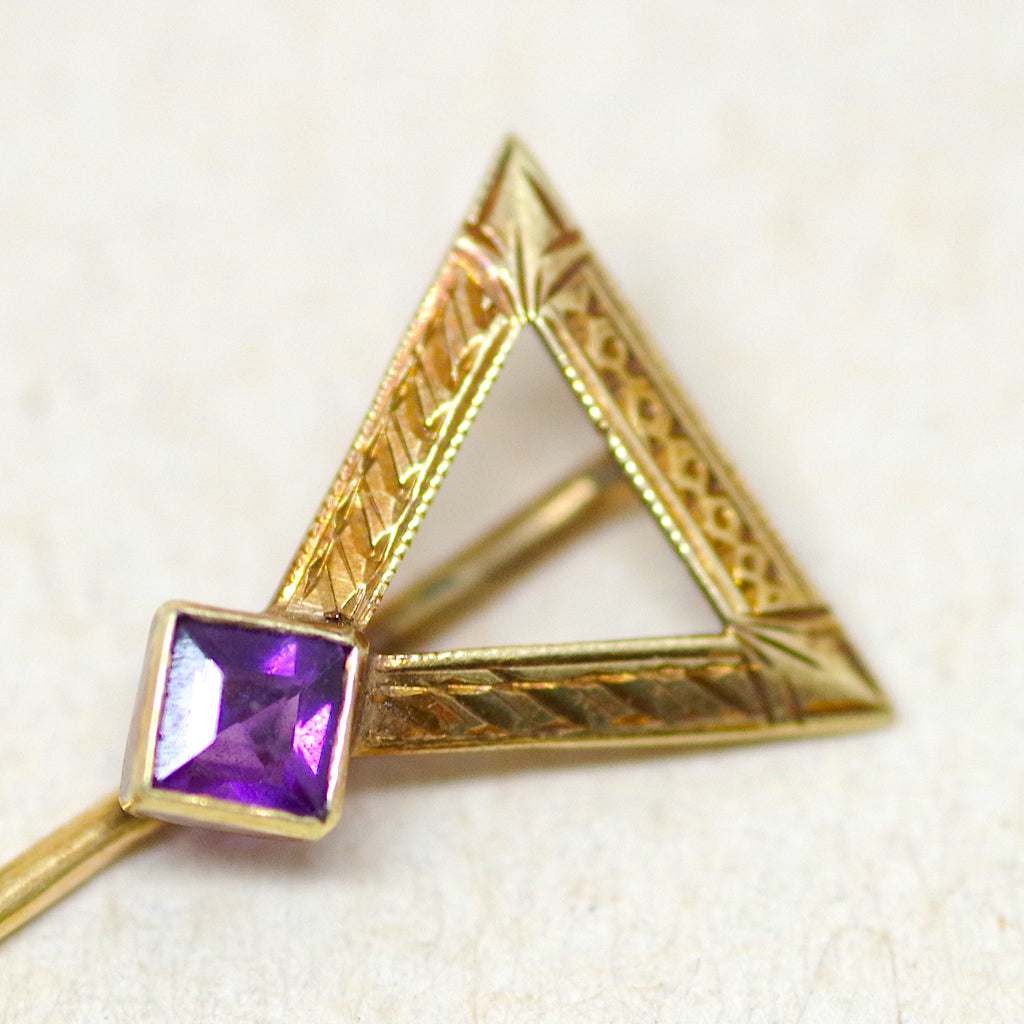 14kt Gold Amethyst Stick Pin