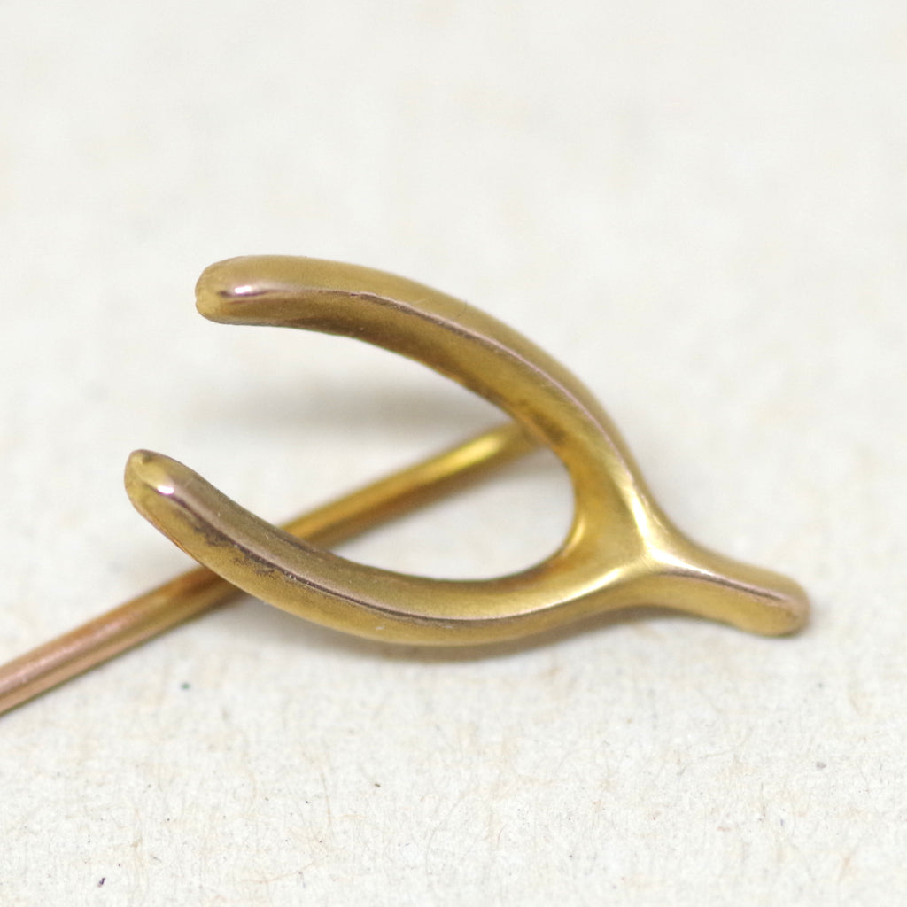 10kt Gold Wishbone Stick Pin
