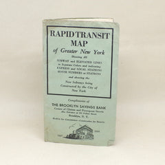 1930s Foldable NYC Subway Map