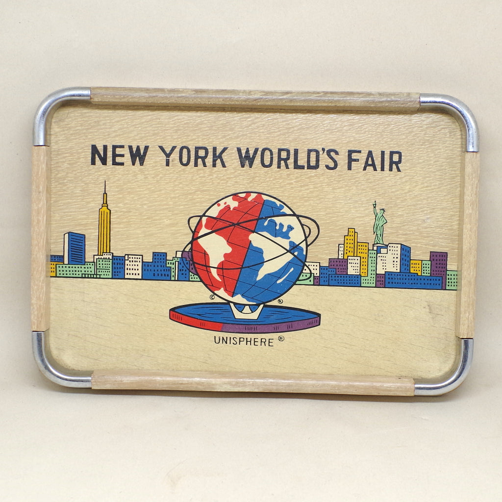 1964 Wooden New York World's Fair Tray