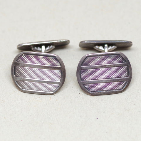 Circa 1930s Silver Etched Stripe Cufflinks