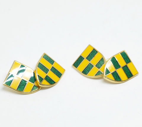 Green and Yellow Enameled Coat of Arms Cufflinks
