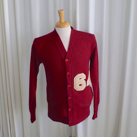 "Burgundy ""64"" Varsity Cardigan - Medium"