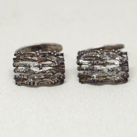 Ca. 1960s Sterling Brutalist Textured Cufflinks