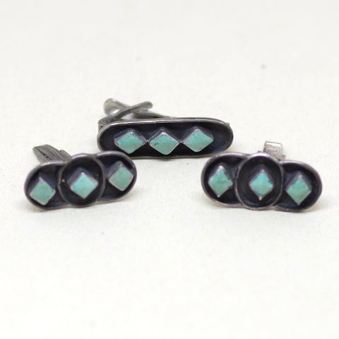 Southwestern Native Turquoise Diamond Dress Set (Cuff Links and Tie Bar)