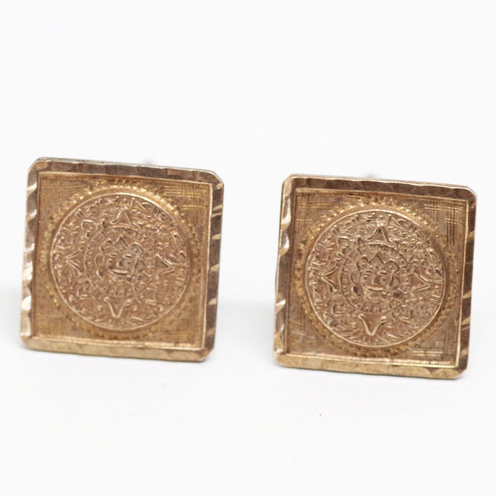 Vintage Silver and Gold Aztec Calendar Cufflinks