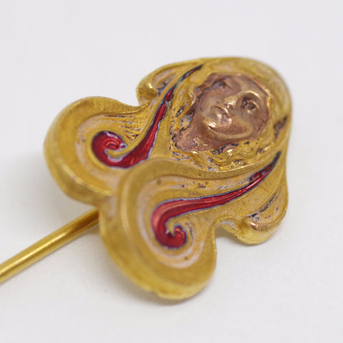 Woman with Flowing Locks Stick Pin