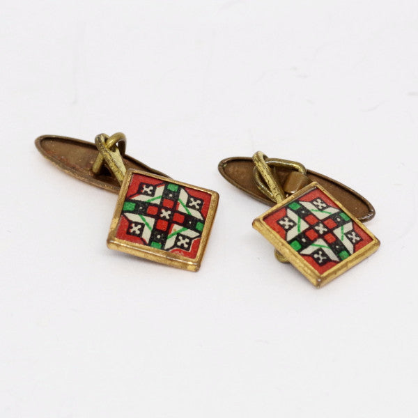 Red and Green Geometric Patterned Cufflinks