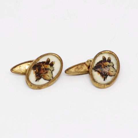 Gilt Brown Scotty Dog Cufflinks
