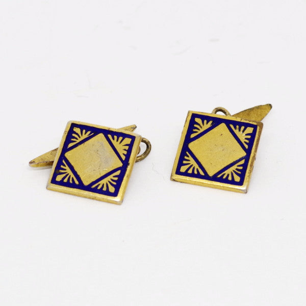 Gold Cufflinks w/ Blue Enamel Design