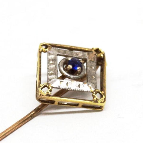 10k Gold Stick Pin w/ Sapphire and White Accent