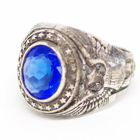Sterling Silver Military Ring w/ Big Blue Gemstone and Eagle Crest Detail