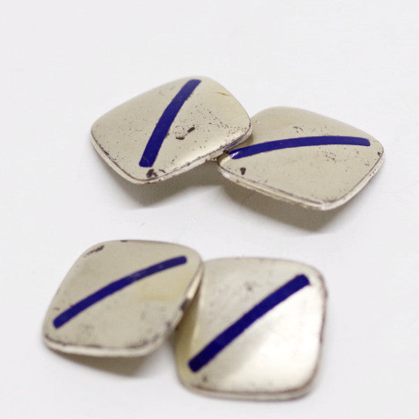 Sterling Silver Cufflinks w/ Blue Enamel Stripe