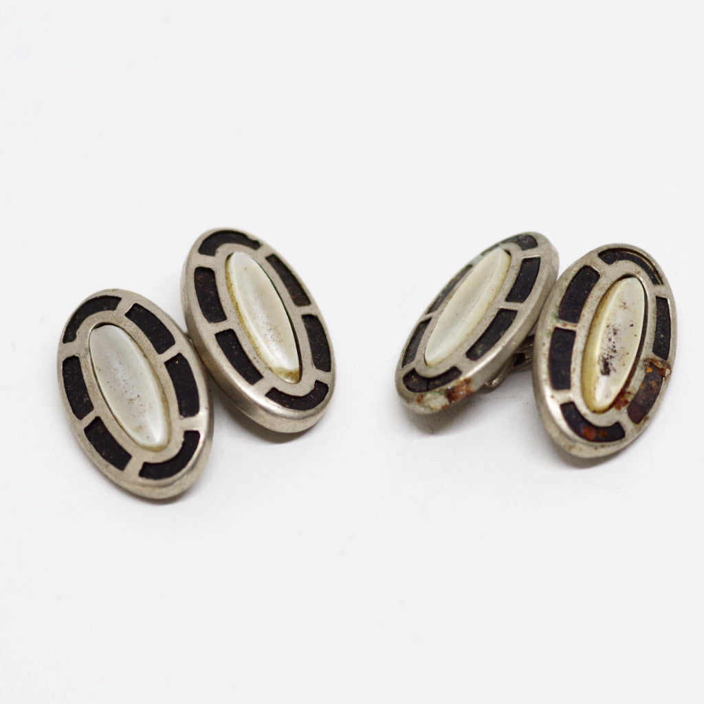Mother of Pearl and Black-Pattern Double Sided Cufflinks
