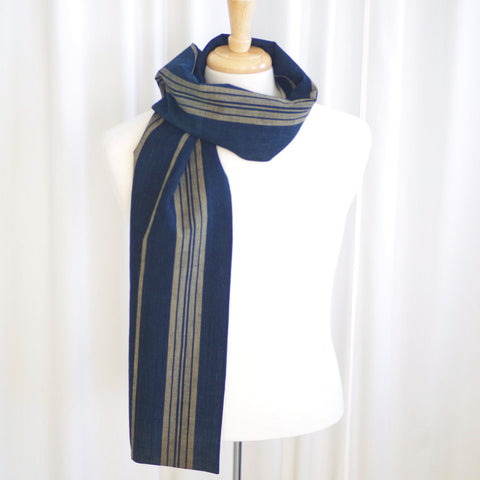 Triple Striped Indigo Japanese & Silk Scarf