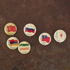Vintage Flags of Asia Pins
