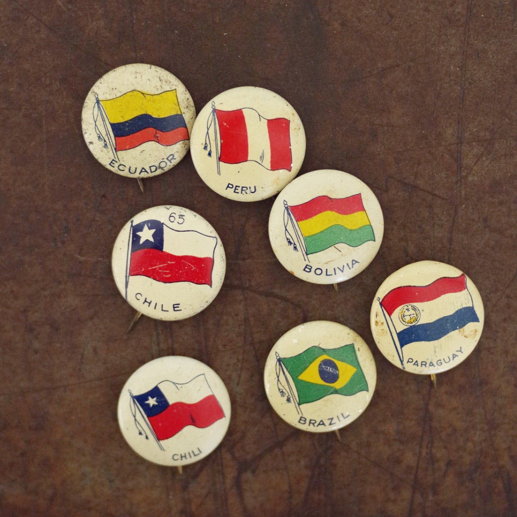 Vintage Flags of South America Pins