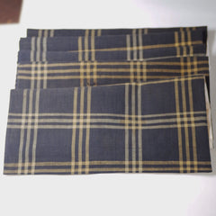 Tan & Navy Plaid Japanese Boro & Silk Scarf