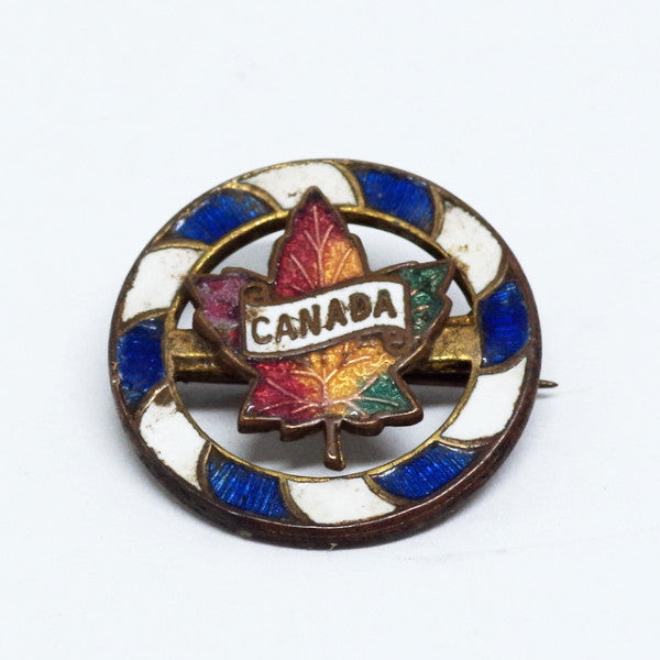 Canadian Maple Leaf Pin w/ Blue and White Border