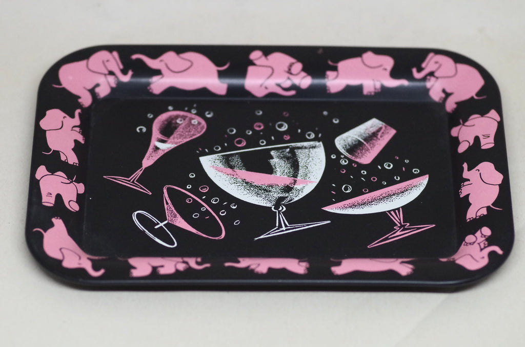 Pink elephant cocktail tray set