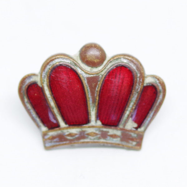 Enameled Red Crown Screw Pinback