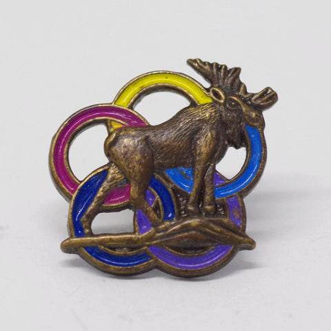 Moose with Rings Pin