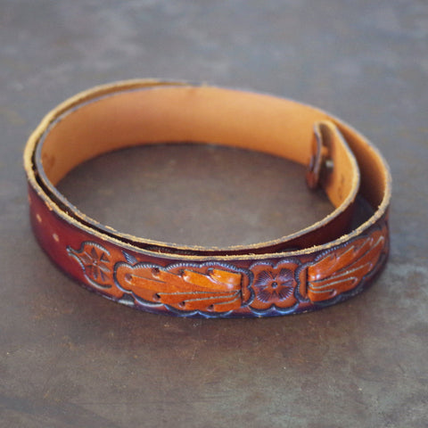 Southwestern Tooled & Woven Leather Belt- Size 32/34