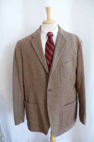 Unstructured Polo Ralph Lauren Herringbone Tweed Sport Coat - XL