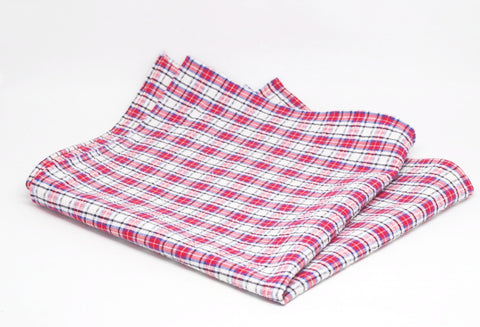 Breezy Red and White Check Seersucker Cotton Pocket Square by Put This On