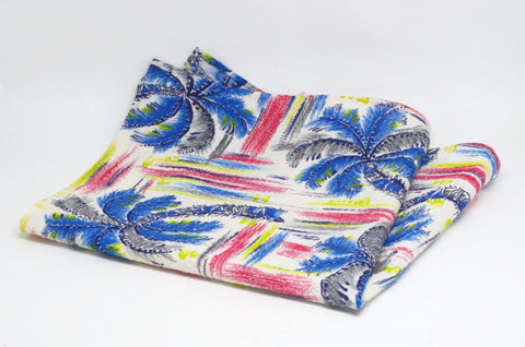 Brilliant Blue Palm Tree Cotton Pocket Square by Put This On
