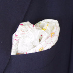 Detailed Floral Outline Pattern White Cotton Pocket Square by Put This On