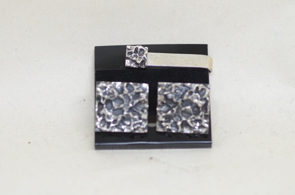 "Sterling ""Meteorite"" Dress Set Cufflinks and Tie Bar"