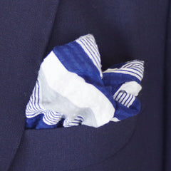 Rich Navy and Grey Seersucker Cotton Pocket Square by Put This On