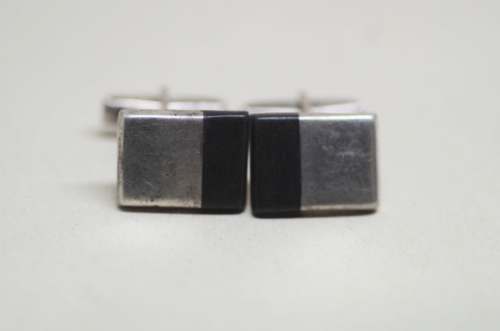 Black and Sterling Silver Cufflinks