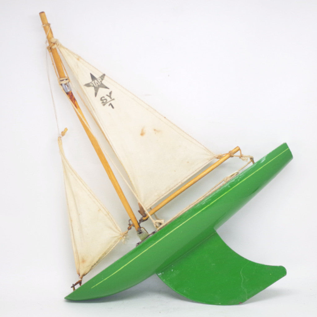 Vintage Star Yacht Wooden Toy Sailboat