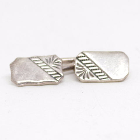Bold Crested Sterling Silver Cufflinks