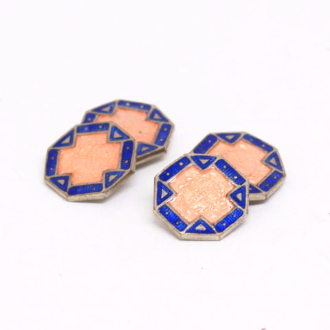 Pink Cross Art Deco Enamel Double Sided Cufflinks