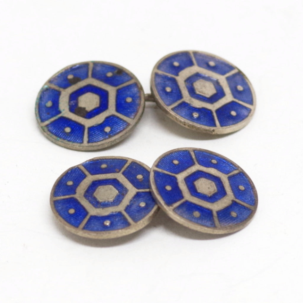 Blue Enamel Deco Double Sided Cufflinks