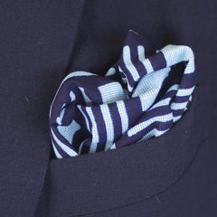 Geometric Squares and Lines Indigo Cotton Pocket Square by Put This On