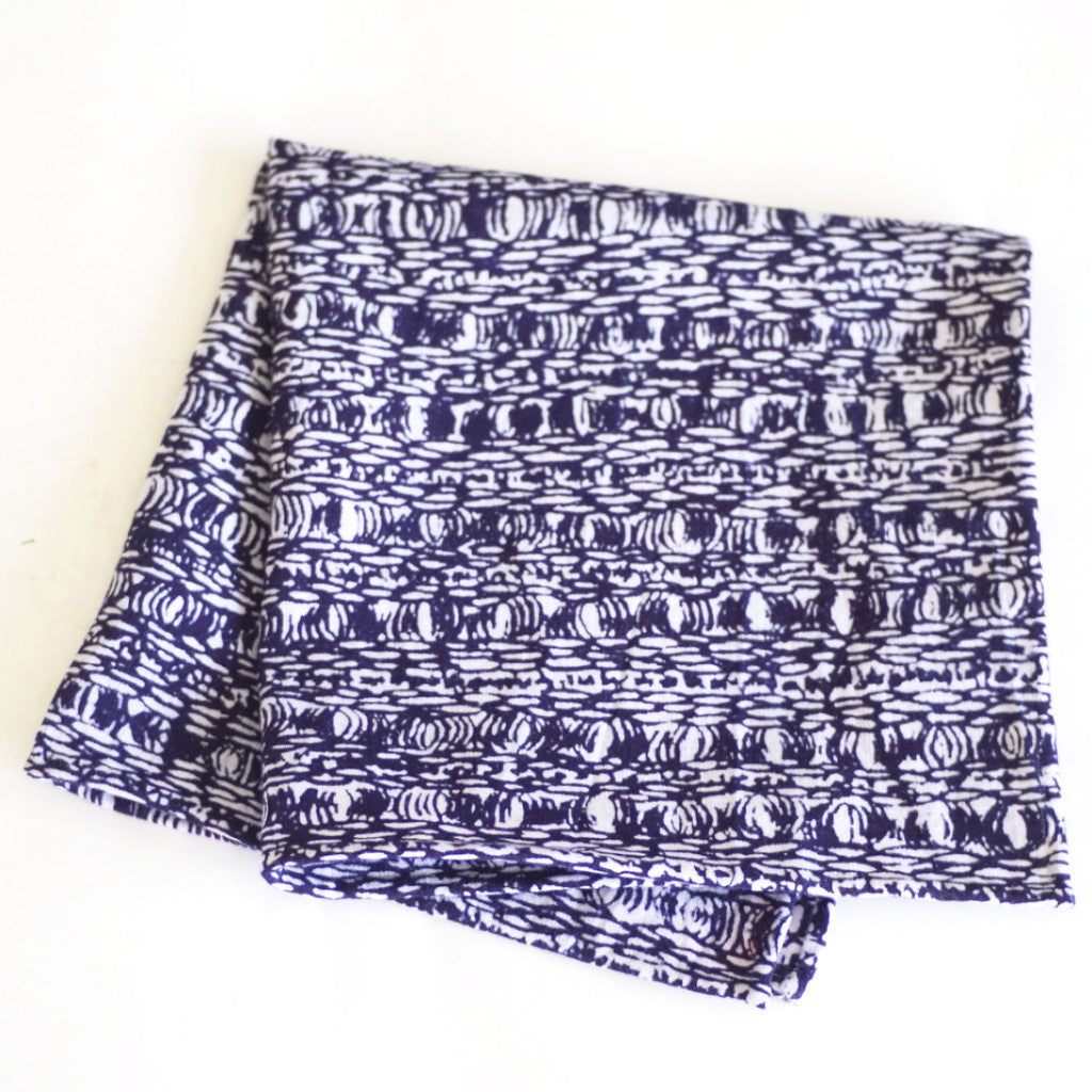 Intricate Patterned Japanese Indigo Cotton Pocket Square by Put This On