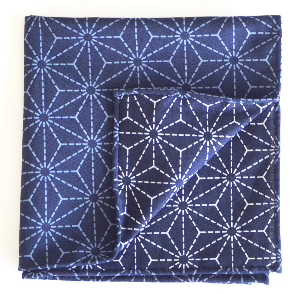 Reversable Geometric Kasuri Japanese Indigo Cotton Pocket Square by Put This On