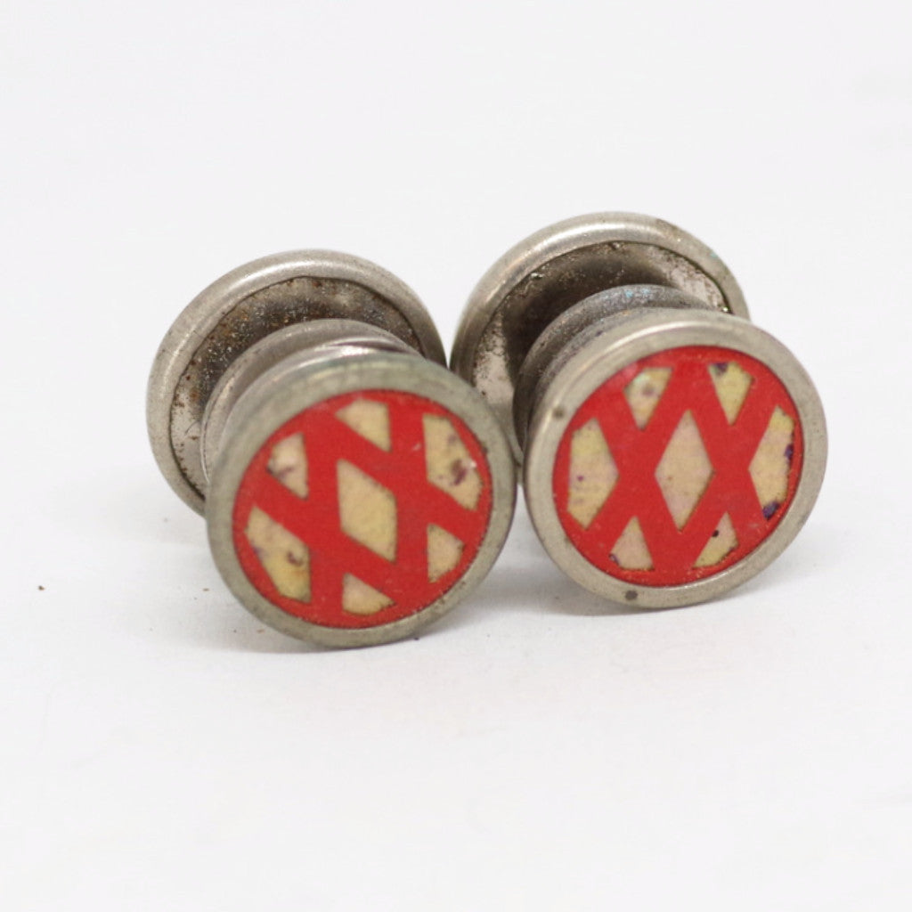 Red Crisscross Pattern Snap Cufflinks