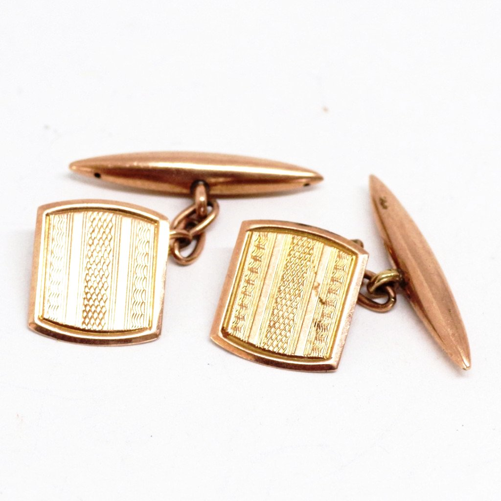9ct Gold Lightly Etched Cufflinks