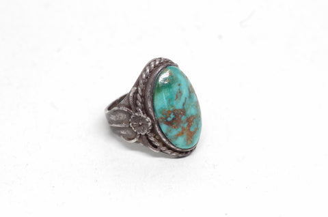 Braid and Flower Turquoise and Silver Ring