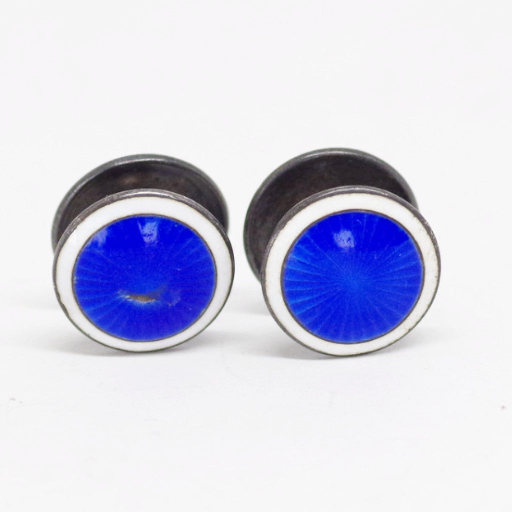 White and Blue Enamel Sterling Yo-Yo Link Cufflinks