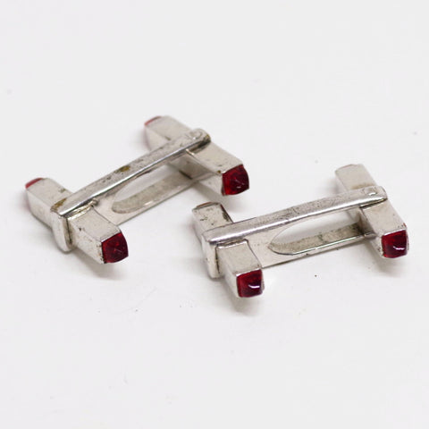 Red Cabochon Barbell Cufflinks