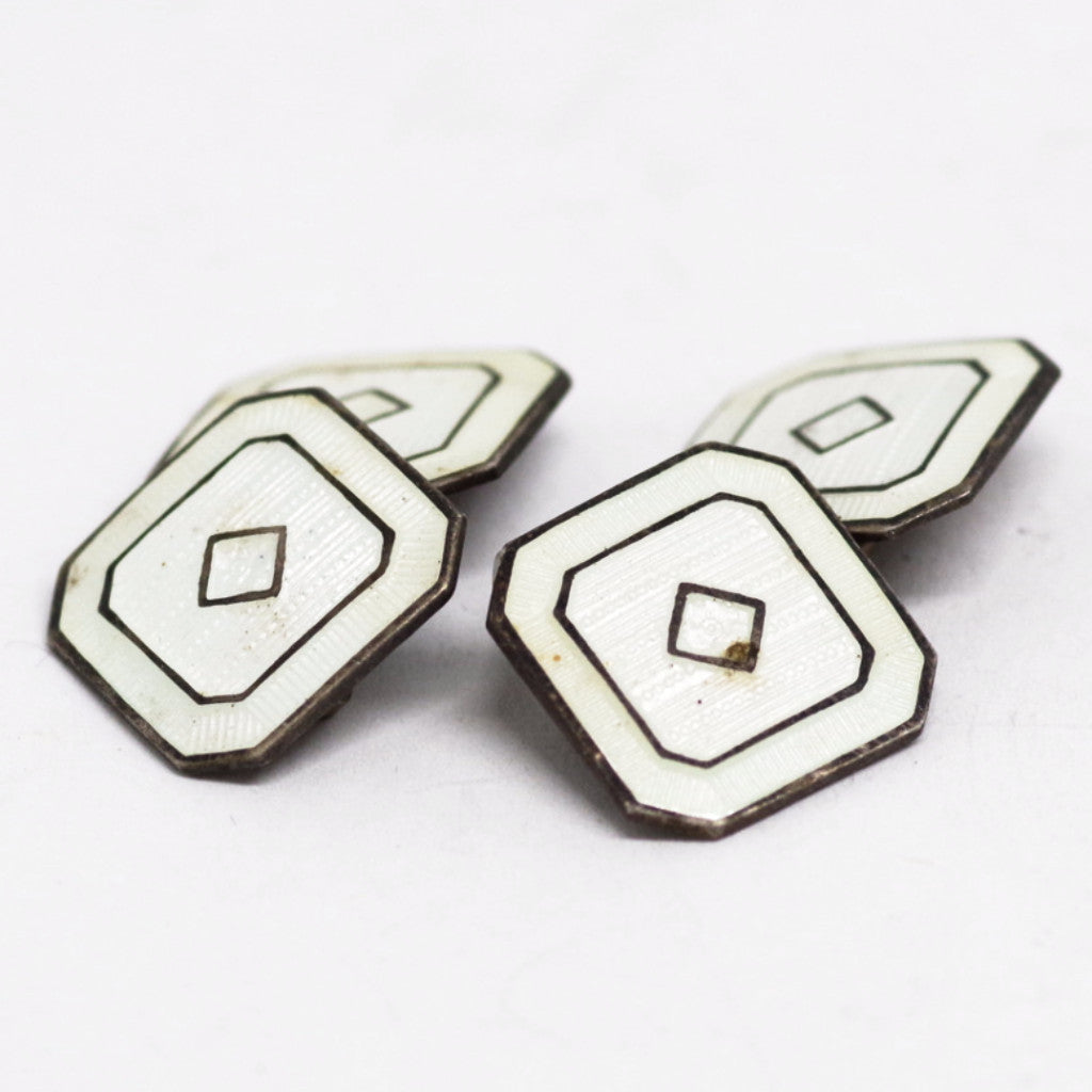 Sterling and White Enamel Double Sided Cufflinks