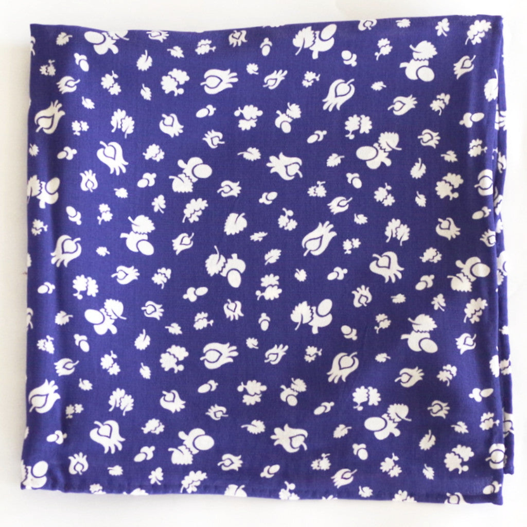 Placid Tulip and Leaf Blue Rayon Pocket Square by Put This On