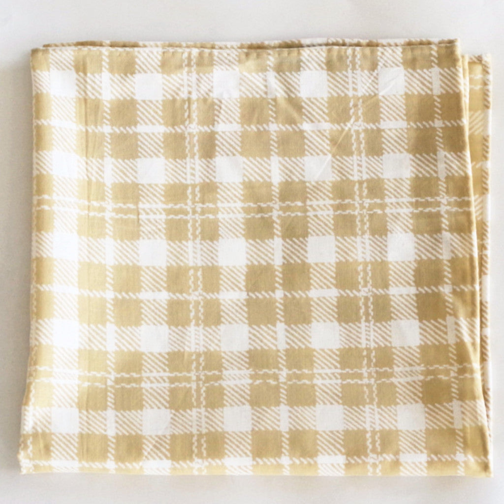 Summery Khaki Gingham Cotton Pocket Square by Put This On