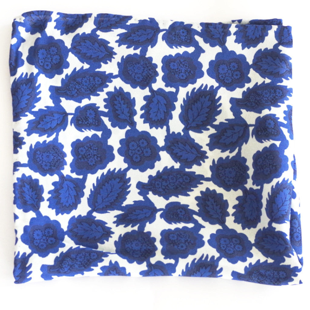 Multi-Floral Pattern Blue and White Rayon Pocket Square by Put This On